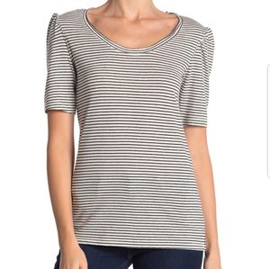 Caslon Melinda Puff Sleeve striped Tee XL